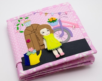 Baby Quiet Book - Travel toy - Travel Toddler - Montessori Toy - Personalized Felt Learning Book - Doll house