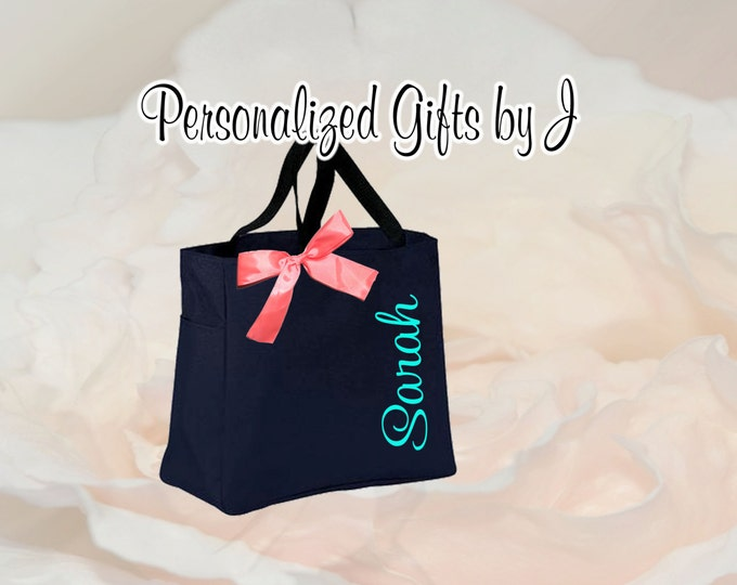 14 Bridesmaid Tote Bags, Personalized Tote, Bridesmaids Gift, Monogrammed Tote, Bridal Party Gift, Friend Gifts, Embroidered Bags
