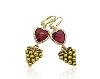 Bridesmaids Ruby Heart Gem Earrings, Ruby July Birthstone Jewelry, Red Crystal Stone and Antique Gold Earrings, Vintage Roman Style Earrings