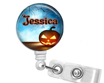 Personalized Halloween Night, Retractable ID Badge Reel (D_74)