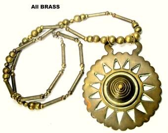 Boho WARRIOR  LONG Tribal Brass Necklace , My Combo,  Horse Tack Ornament Pendant & 70s Brass Beads, OOAK Rachelle Starr