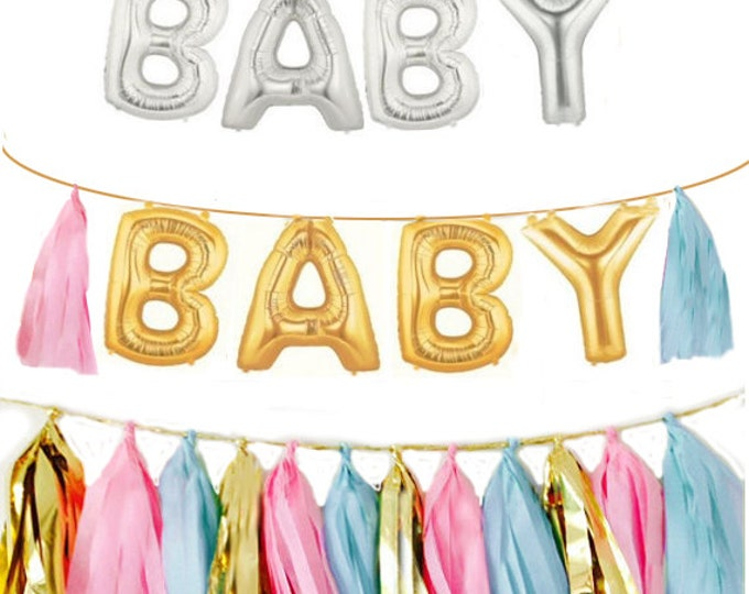Gender Reveal Baby Letter Balloons | Gold or Silver Foil Letter Balloon Gender Reveal Ideas | Baby Banner 14 inch  | Tassels