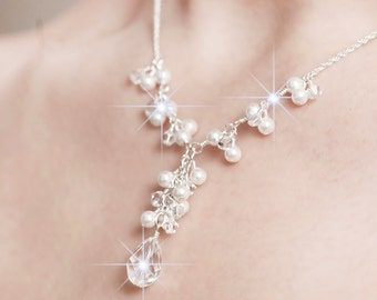 Bridal Necklace, Bridal Jewelry, Pearl and Crystal Bridal Y Necklace, Bridal Jewellery