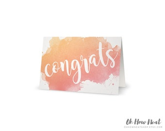 Watercolor Wedding Congratulations Card | Pink Coral Orange Peach Blush Cursive Boho Greeting Card | Congrats Folded 5x7 Card with Envelope