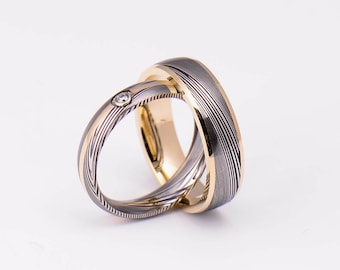 Genuine stainless Damascus Steel and 18K Yellow Gold Wedding Band Set  PD99