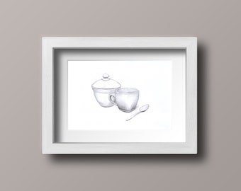 Teacup with a spoon and sugar bowl. Original pencil drawing A4.