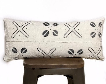 African Mudcloth Black & White Lumbar Pillow Cover