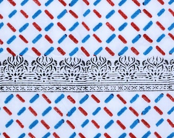 Hand Block abstract print,Blue ,Red and black Color , 1 Yard