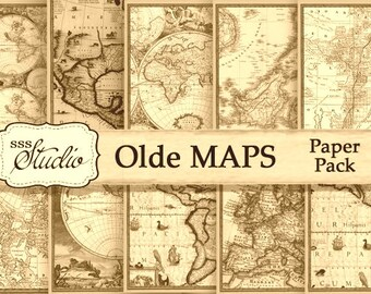 Antique Maps digital paper, Vintage Maps digital download, scrapbook paper, printable map paper, digital collage, background paper, Maps