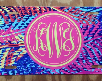 Lilly Pulitzer monogram License plate monogram car tag personalized lilly Pulitzer car tag new pink aqua yellow leaves