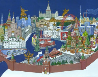 Moscow remarkable sights Poster