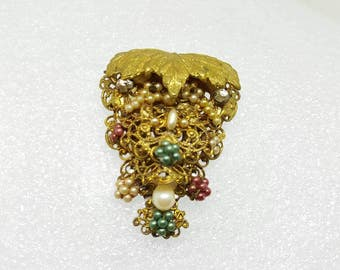 Haskell Style Dress Clip Unsigned Large Russian Gilt Styling  Montees  Victorian Dress Decor