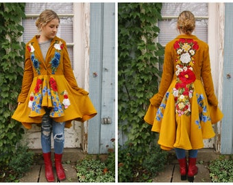 Floral Appliqued High Low Coat// Marigold Yellow// Velvet Wool// Medium//emmevielle