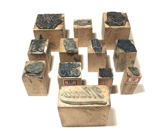 Set of 12 Ink Rubber Stamp, French Embroidery