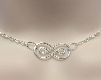 925 Sterling Silver DOUBLE Infinity Celtic charm submissive Collar Day Necklace for BDSM sub/slave