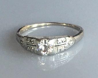 Antique Diamond Engagement Ring Platinum