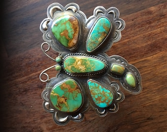 Very large Dragonfly turquoise cuff bracelet