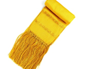 Mexican Authentic Rebozo   5 de Mayo  Mexican Fiesta  wrap pashmina Yellow Stripes