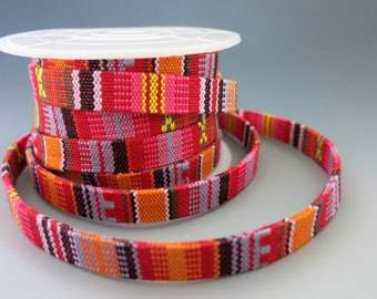 Woven Native Flat Cotton Cord, Red Multicolors, 10mm Wide, By the Inch, Boho Bracelets, Ethnic Hatbands, Belts, Tribal Designs