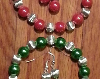 Two Sets to Pick From/Green or Red/Bracelet and Earring Set