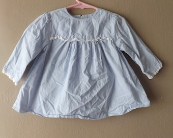 Vintage Baby Girl Clothes  Vintage Baby Clothes  Vintage Kids Clothes  Retro Baby Clothes Blue Dress Long Sleeve Baby Dress Eyelet Trim