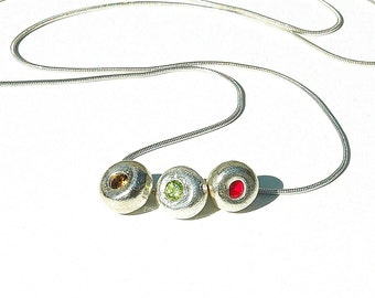 Triple Gemstone Sterling Silver Necklace / Pink Ruby Drop Pendant / Green Peridot / Yellow Citrine / Gemstone Jewelry / Gifts For Her / OOAK