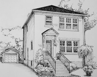 Custom Pen and Ink House Portrait 9x11