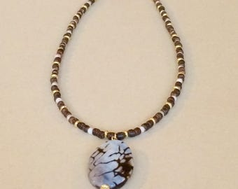 Brown Agate Pendant Necklace Fall Necklace Sweater Necklace Brown Bead Pendant Necklace Boho Pendant Necklace Fashion Jewelry Gift For Her