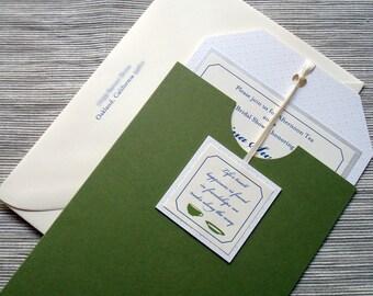 Bridal Shower Invitations - Tea Party Themed Tea Bag Shaped - SAMPLE