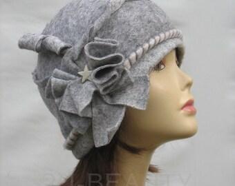 Felted Hat Cloche hat  retro Hat Designer Hat Gray Hat Art Hat Art deco hat  folk hats  feminine wearable art hat flower hat 1960s
