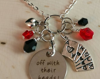 """Necklace inspired by """"The Queen-Off with their Heads"""".Disney,Jewelry, Disney Necklace,Off with their Heads, Disney gift, Queen of Hearts"""