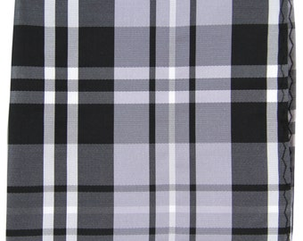 Men's Polyester Plaid Black Gray White Handkerchief, for Formal Occasions (2012)