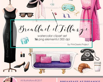 Breakfast at Tiffanys Watercolor Clipart Set