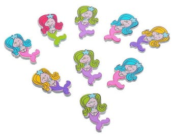 5 buttons wooden Mermaid - 2.9x1.7cm - shaped 2 holes - multicolored