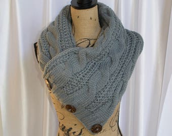 Buttoned Up Scarf Chunky Women Scarf Boston Harbor Scarf Silver Gray Knitted Buttoned Up Scarf Women Scarf Christmas Gift under 50