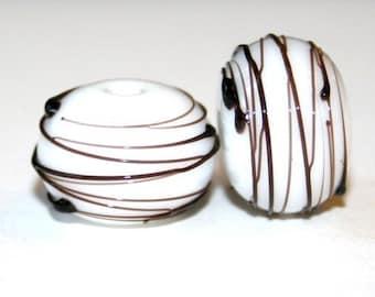 White Opal Black Thread - Glass Lampwork Bead Pair