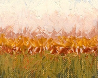 Original Abstract Landscape Oil Painting on Canvas Paper, ACEO, ATC, artist trading card