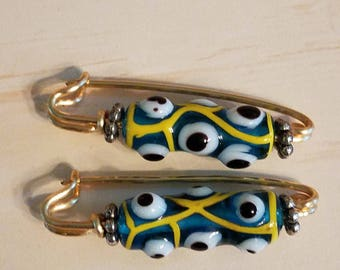Blue and gold glass eye beaded fibulae - safety pin - gold