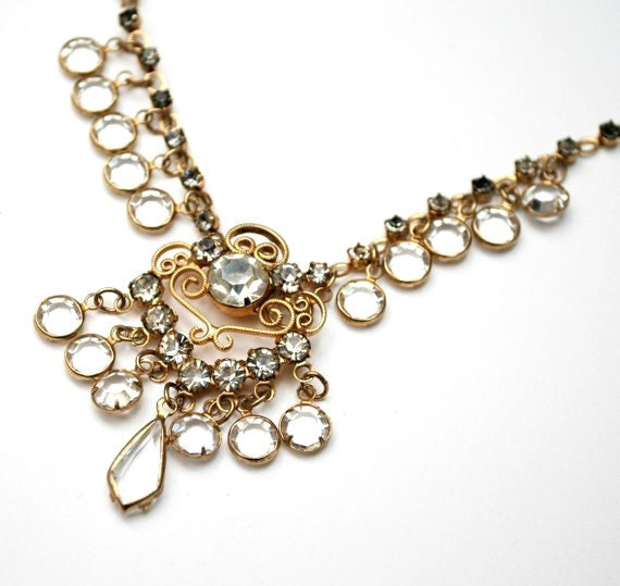 Clear Beveled Crystal Bib  Necklace - Rhinestone chain  - Wedding Bride - dangle crystal necklace