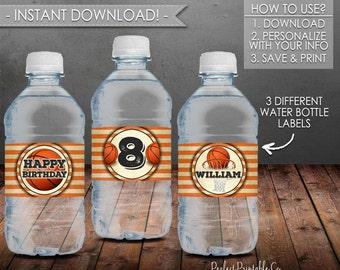 Basketball Water Bottle Labels, Basketball Birthday Party, Black Orange, Printable, Water Bottle Labels, Instant Download, Editable PDF #558