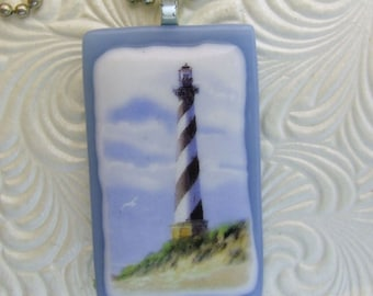 Cape Hatteras Pendant, Fused Glass Jewelry Handmade in North Carolina