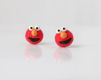 Elmo, Sesame Street, new handmade lightweight earrings,cute funny jewelry, ideal for gift, for girl