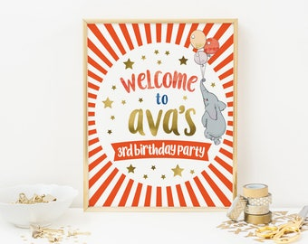 Circus party sign PRINTABLE. Circus welcome sign, Carnival poster, Red stripe Circus backdrop elephant kid birthday Circus party decorations