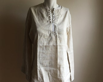 Cream Pinstriped Cotton Bohemian Tunic  // S to M