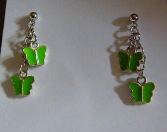 Dangle Green Enamel Butterfly Earrings  #654