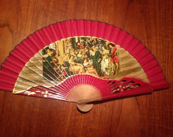 Beautiful vintage hand held fan wedding summer party finishing touch chic vibrant unique festival cool