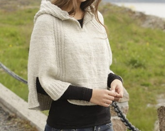 Handmade hand knit women poncho / wrap / cape / capelet with hood in 100% soft wool, Size: S/M - L/XL - XXL/XXXL