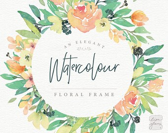 Watercolor floral frame: hand painted floral wreath clipart / Wedding invitation clip art summer watercolor flowers / commercial use / TB-a