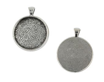 10pcs 30mm/1.2inch Blank Round Bezel Tray Base for Cabochon Necklace Charms Pendant Retro Tibetan Silver DIY necklace