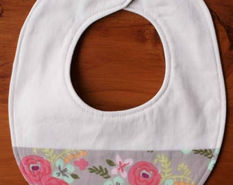 Floral Baby Bib; Pink and Soft Gray Drool Bib; Retro Flower Print; Teething Accessory; Handmade; Organic Cotton Gift for Baby Girls; Flora